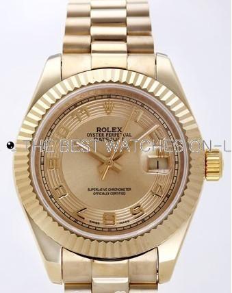 Rolex Datejust II Replica Watches Gold Dial RX4130