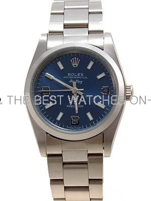 Rolex Air King Replica Watches SS Blue Dial Arabic Bar Hour markers II