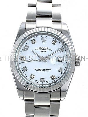 Rolex Oyster Datejust Replica Watches White Dial with Arabic and Diamond Hour Markers RX5059