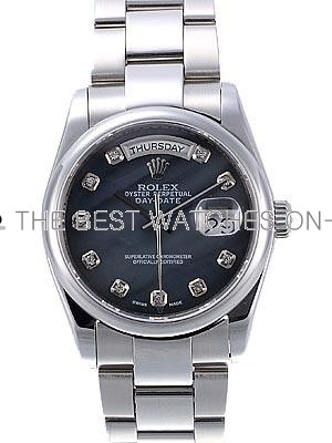 Rolex Oyster Day Date Replica Watches  Black Dial Diamonds Hour Markers RX4021