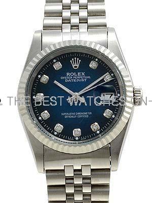 Rolex Datejust Replica Watches Jubilee SS Blueblack dial diamond (CZ) hour markers II