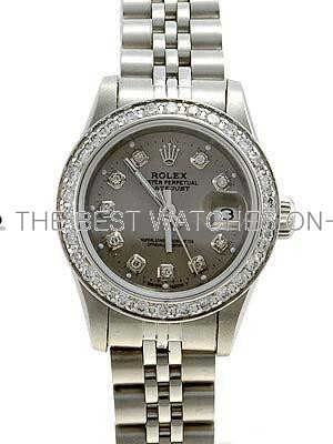 Rolex Datejust Replica Watches Gray dial diamond hour markers diamond bezel