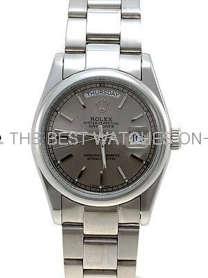 Rolex Oyster Day Date Replica Watches  White Gold Gray dial bar hour markers II RLLP07