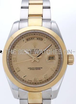 Rolex Day-Date II Replica Watches Gold Dial RX41132