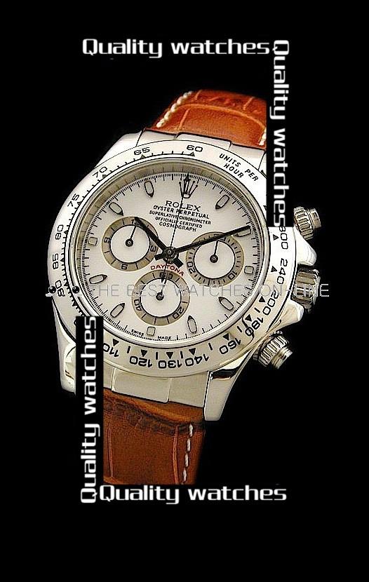 Swiss Rolex Cosmograph Daytona White Dial Brown Strap Automatic Replica Watch