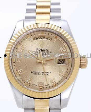 Rolex Day-Date II Replica Watches Gold Dial RX41125