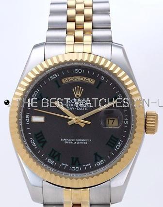 Rolex Day-Date II Replica Watches Black Dial RX41122