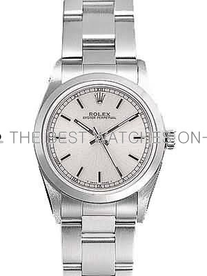 Rolex Oyster Perpetual Replica Watches SS Stainless Steel Silver Dial Bar Hour markers