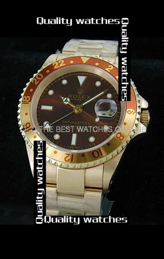Swiss Rolex GMT-Master II Dark red dial Automatic Replica Watch
