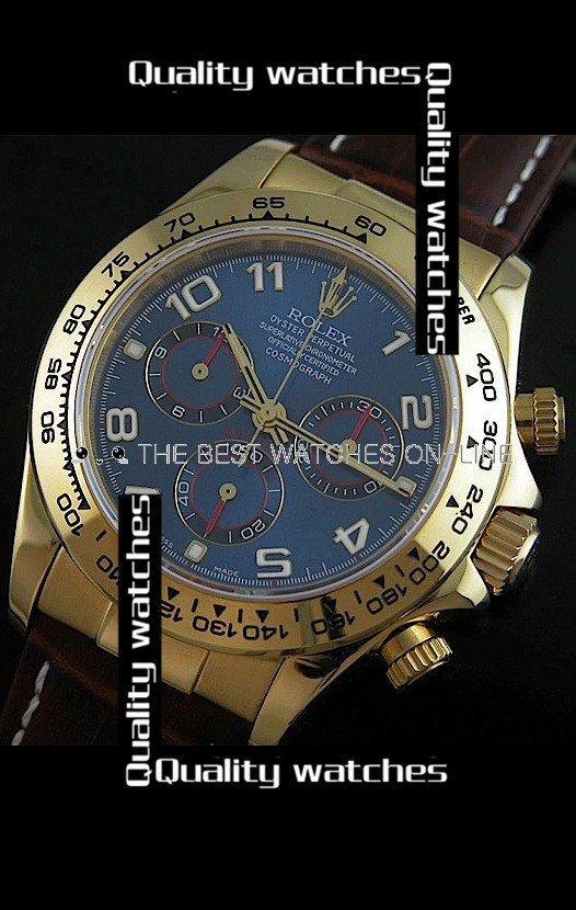Swiss Rolex Cosmograph Daytona Dark Blue Dial 18K Gold Leather Strap Automatic Replica Watch