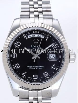 Rolex Day-Date II Replica Watches Black Dial RX41143
