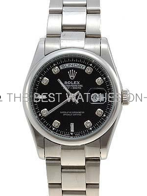 Rolex Oyster Day Date Replica Watches White Gold Black dial diamond hour markers I RLLP02