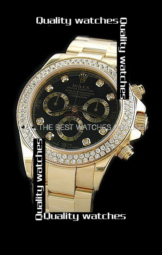 Swiss Rolex Cosmograph Daytona Black Dial Full Diamonds Bezel Steel Strap Automatic Replica Watch