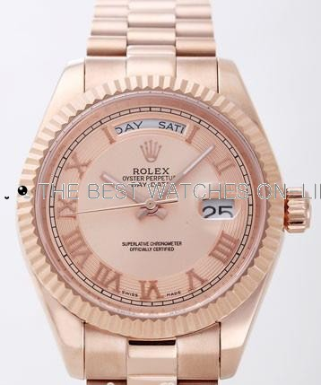 Rolex Day-Date II Replica Watches Pink Dial RX4129-2