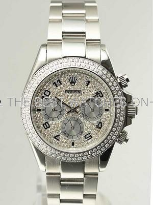 Rolex Daytona Replica Watches SS Double Diamond Bezel