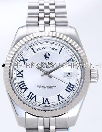 Rolex Day-Date II Replica Watches Silver Dial RX41142