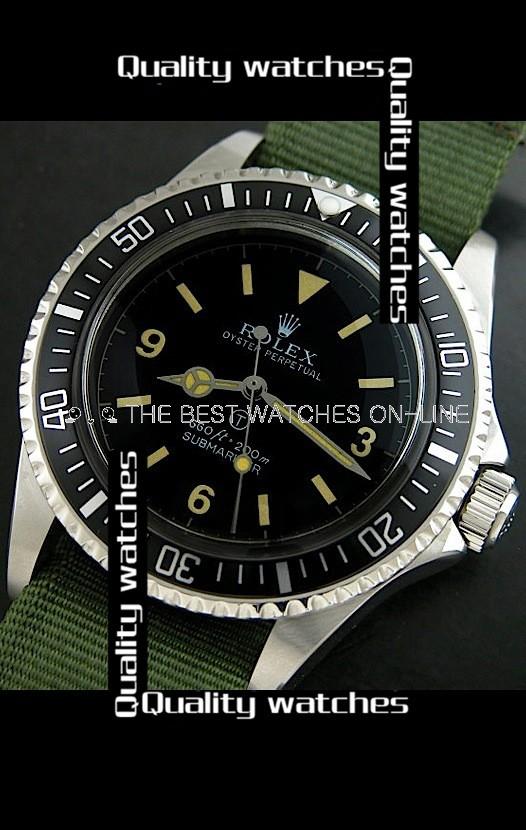 Rolex Submariner Black dial Green Nylon strap Automatic Replica Watch