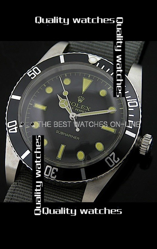 Rolex Submariner Domed Crystal Nylon strap White top Automatic Replica Watch