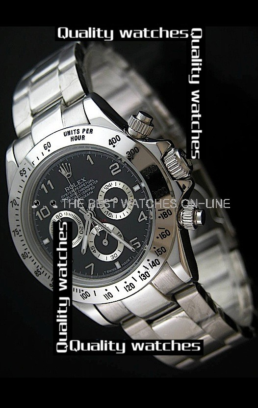 Rolex Cosmograph Daytona Black Dial Silver Sub-Dials Automatic Replica Watch