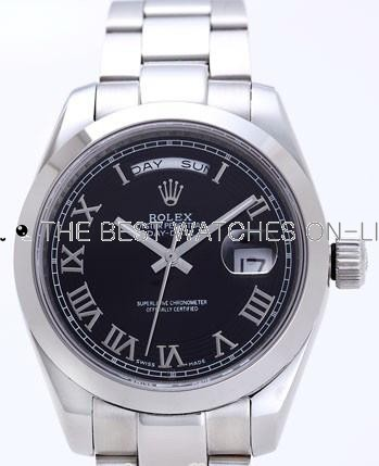 Rolex Day-Date II Replica Watches Black Dial RX41165