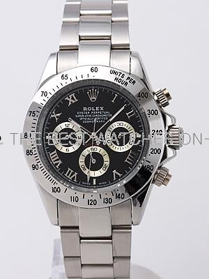 Rolex Daytona Replica Watches SS White Dial roma hour markers SS Band