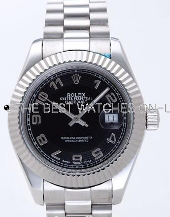 Rolex Datejust II Replica Watches Black Dial RX4114