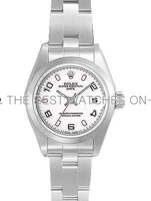 Rolex Oyster Datejust Replica Watches White Dial Arabic Hour markers RX010 34mm