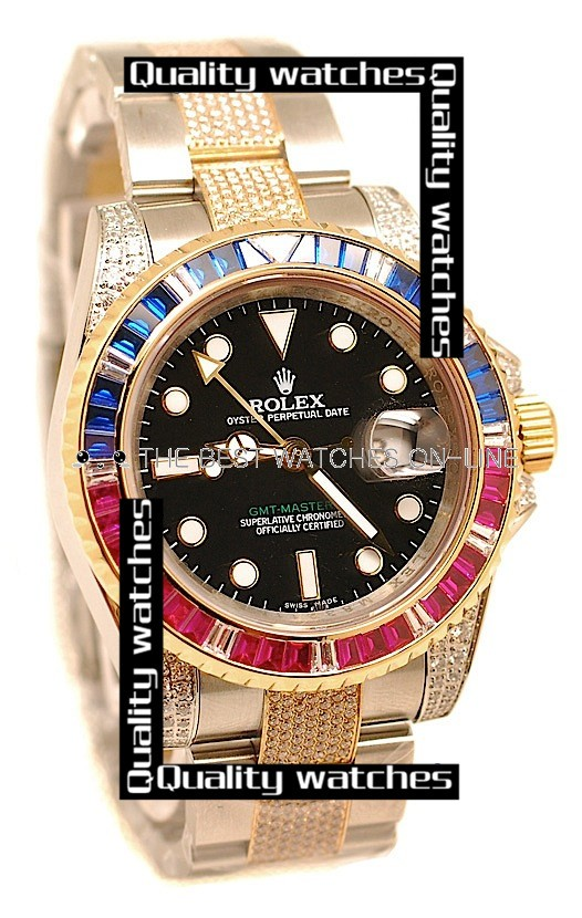 Swiss Rolex GMT-Master II 2011 Edition Diamonds on Case Bezel Strap Automatic Replica Watch