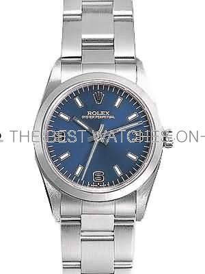 Rolex Oyster Perpetual Replica Watches SS Stainless Steel Blue Dial Arabic Bar Hour markers