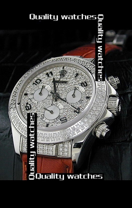 Swiss Rolex Daytona Diamonds inlaid Dial Brown Leather Strap Automatic Replica Watch