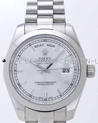 Rolex Day-Date II Replica Watches Silver Dial RX41153