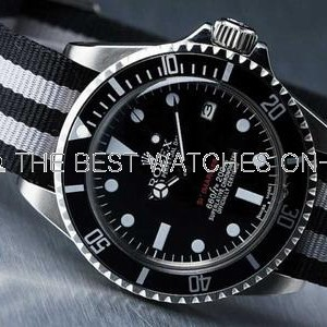 Rolex Submariner SS Case Black Dial Striped Cloth Strap SWRX865