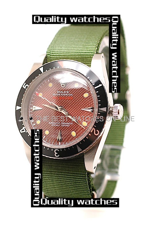 Swiss Rolex Submariner Red dial Green Nylon strap Automatic Replica Watch