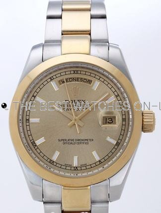 Rolex Day-Date II Replica Watches Gold Dial RX41131
