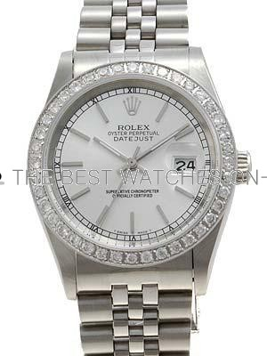 Rolex Datejust Replica Watches SS Silver tapestry dial diamond rim bar hour markers