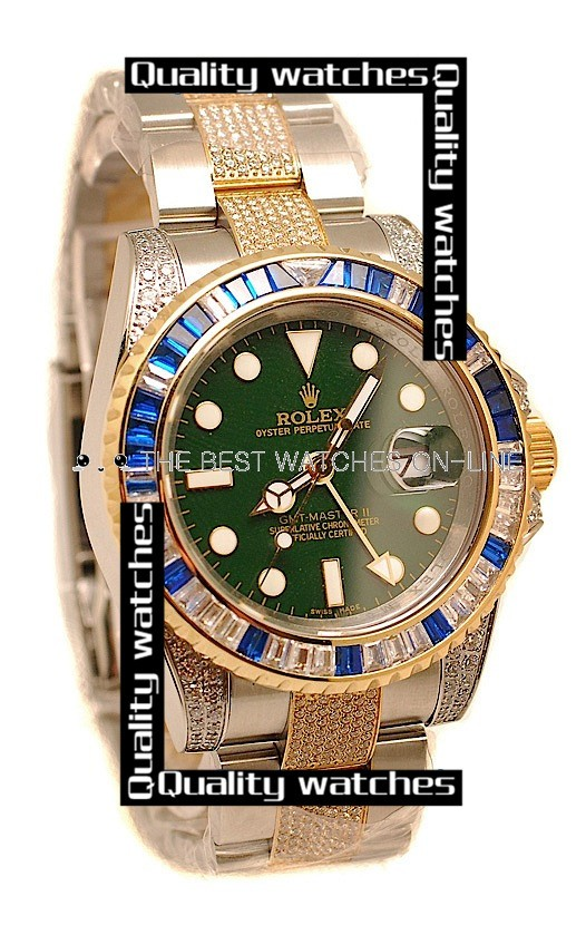 Swiss Rolex GMT-Master II 2011 Edition Diamonds case and bezel Automatic Replica Watch