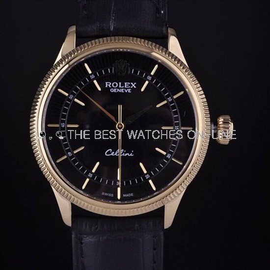 Swiss Rolex Cellini 18K Yellow Gold Black Dial Stick Time Markers Automatic Replica Watch