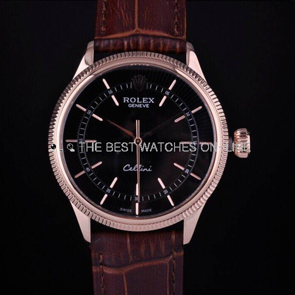 Swiss Rolex Cellini Rose Gold Black Dial Stick Time Markers Automatic Replica Watch