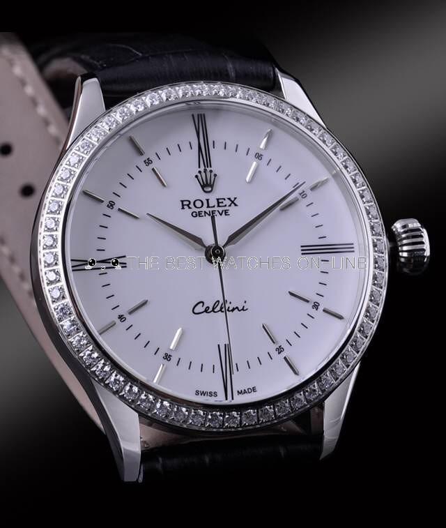 Swiss Rolex Cellini White Gold Diamond Bezel White Dial Automatic Replica Watch