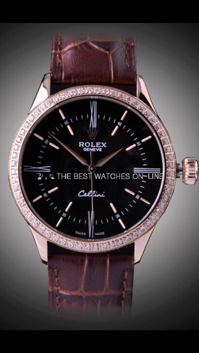 Swiss Rolex Cellini Rose Gold Diamond Bezel Black Dial Automatic Replica Watch