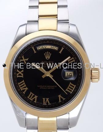 Rolex Day-Date II Replica Watches Black Dial RX41135