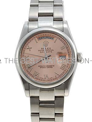 Rolex Oyster Day Date Replica Watches White Gold Salmon Rose dial roman numeral hour markers  RLLPA5