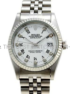 Rolex Datejust Replica Watches SS White dial diamond (CZ) hour markers