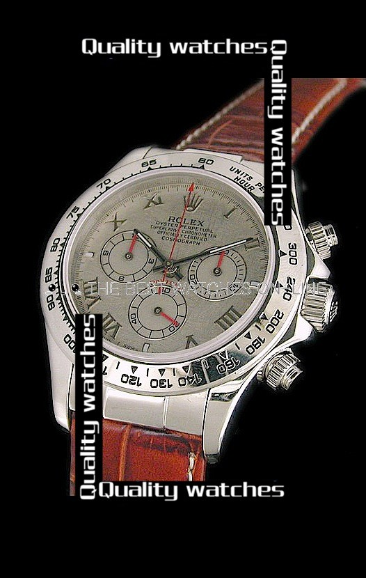 Replica Rolex Daytona Automatic Watch White Dial Brown Leather 40mm