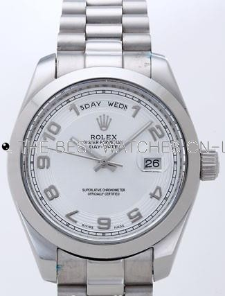 Rolex Day-Date II Replica Watches Silver Dial RX41148