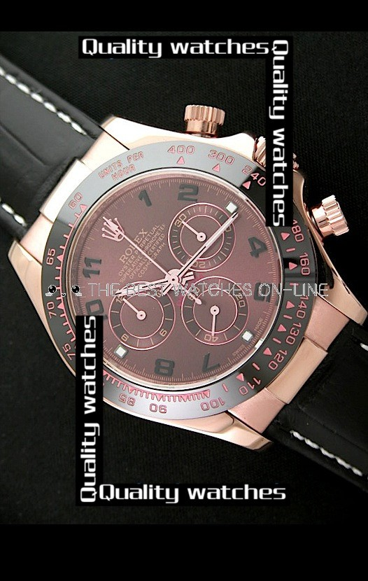 Swiss Rolex Cosmograph Daytona Rose Gold Brown Dial Black Leather Strap Automatic Replica Watch (High End)