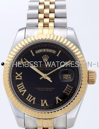 Rolex Day-Date II Replica Watches Black Dial RX41121