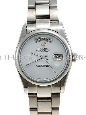 Rolex Oyster Day Date Replica Watches White Gold White dial no hour markers RX7086