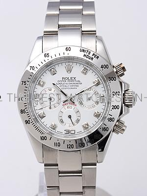 Rolex Daytona Replica Watches SS White Dial Diamond hour markers SS Band