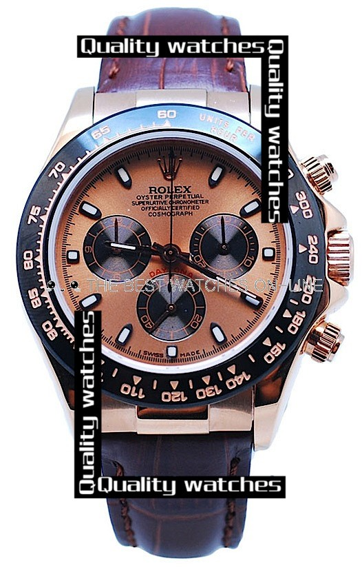 Swiss Rolex Cosmograph Daytona Rose Gold Plated Dial Brown Leather Strap Automatic Replica Watch